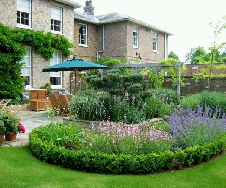 diseno de jardines modernos cesped grande sombrilla ideas