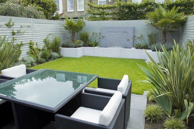diseno de jardines modernos cesped plantas tropicales ideas