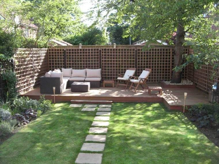 diseno de  jardines modernos cesped suelo madera muebles ideas geniales