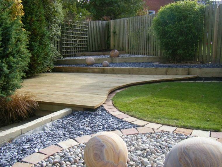 diseno de jardines modernos combinacion piedra madera plantas ideas