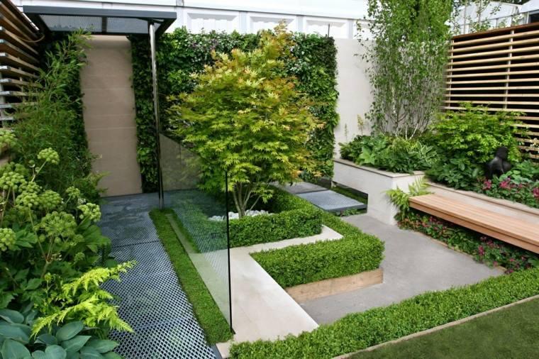 diseno de jardines modernos contemporaneos arbustos arbol banco madera ideas