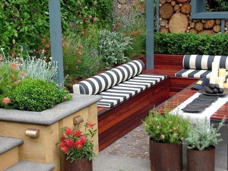 diseno de jardines modernos decorado macetas acero rayas