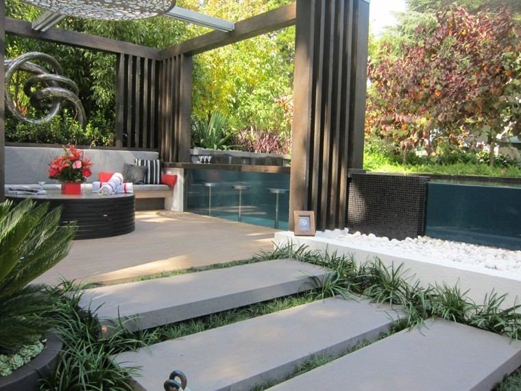 diseno de jardines modernos espacio descanso barra camino plancas piedra ideas