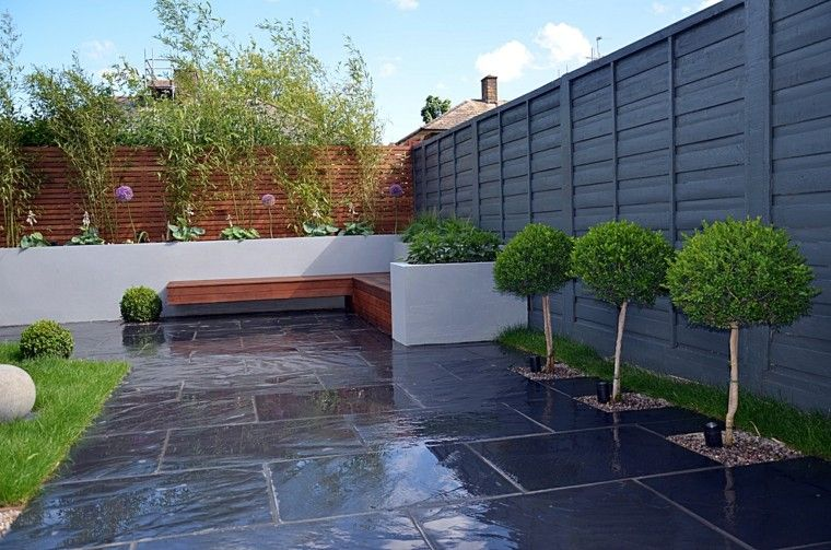 diseno de jardines modernos estilo minimalista ideas vayas madera
