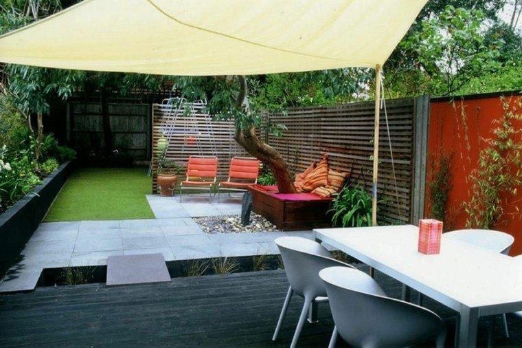 diseño de jardines modernos estilo pergola tela muebles blancos ideas