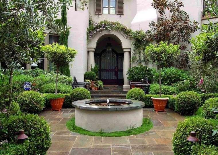 diseno de jardines modernos estilo mediterraneo fuente ideas