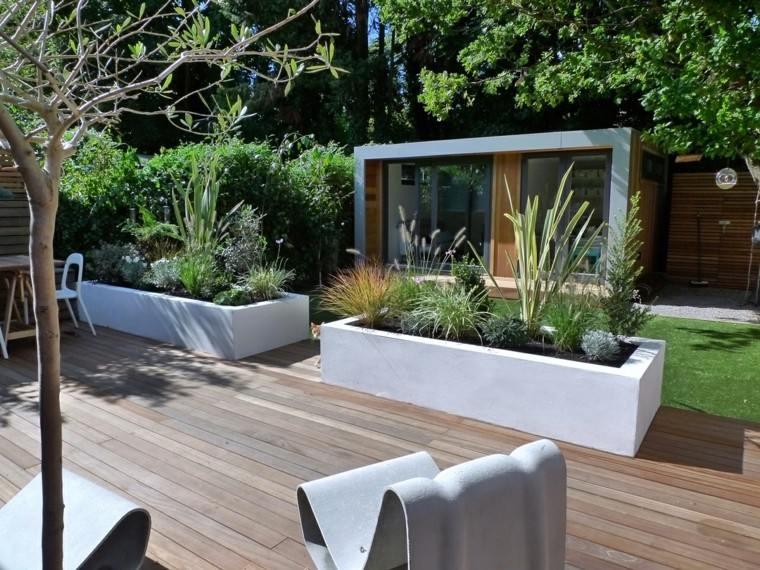 diseño de jardines modernos macetas grandes hormigon ideas