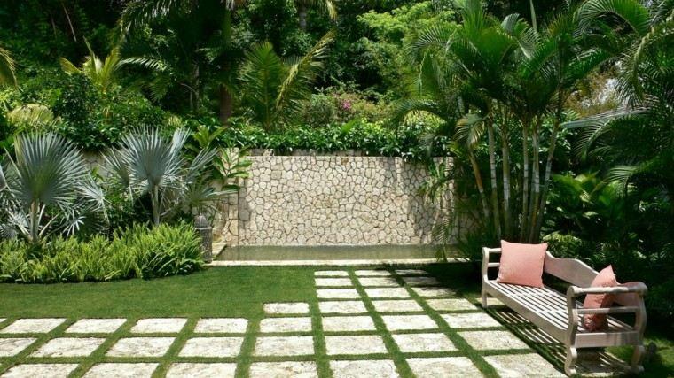 diseño de jardines modernos pequenos banco plantas estanque ideas