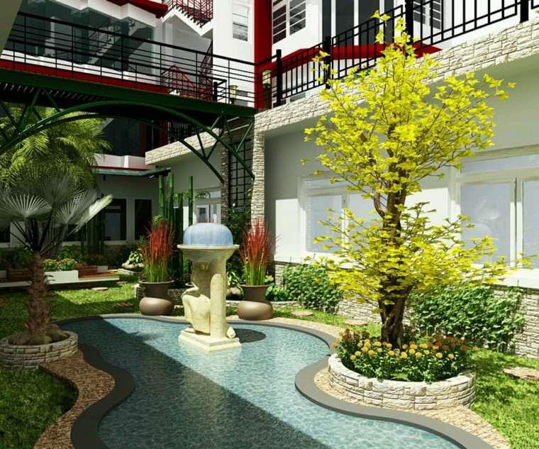 diseño de jardines modernos piscinafo forma interesante ideas