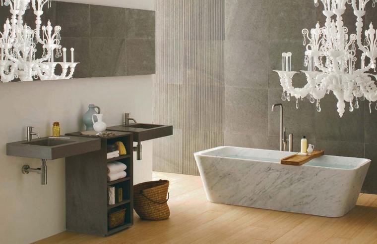 diseno interior lampara blanca banera ideas modernas marmol