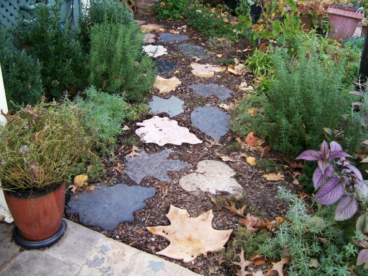 diy camino maceta patio figuras hojas