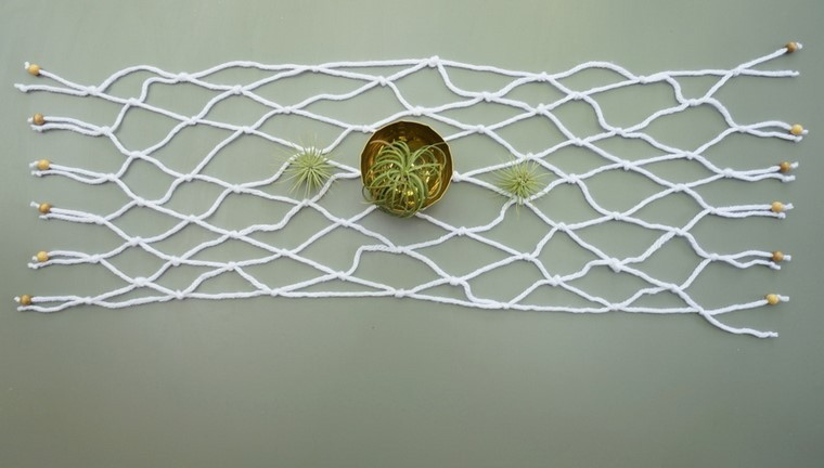 diy decoración macrame blanco  plantas