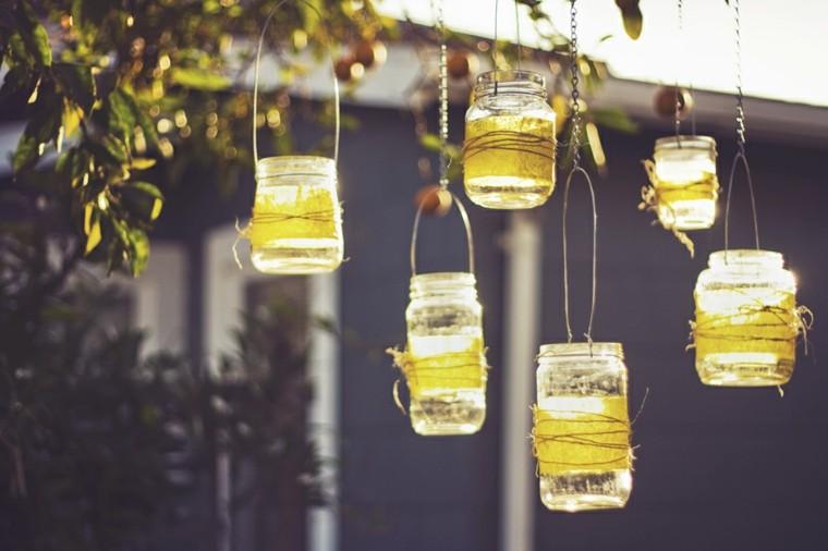 diy linternas arbol cadenas envases vidrio