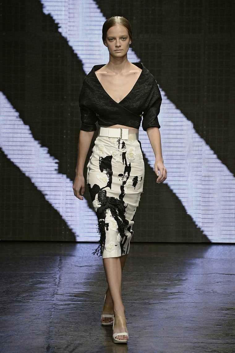 donna karan vestido blanco negro