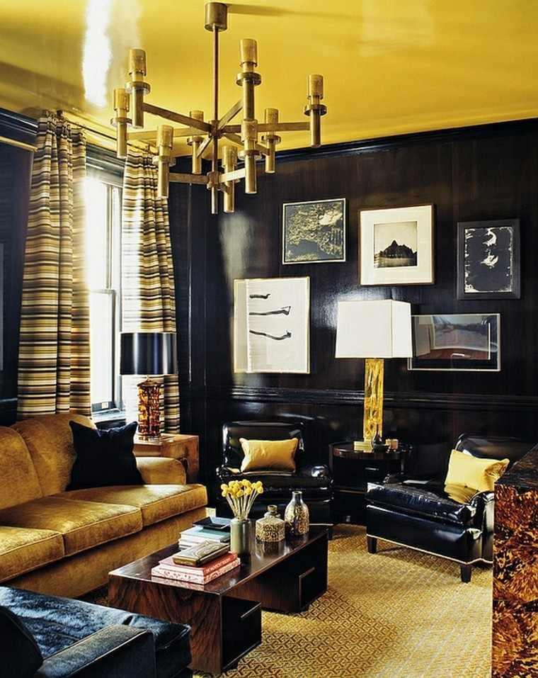dorado lujoso negro salon cortinas