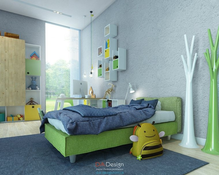 dormitorio diseño color verde cama