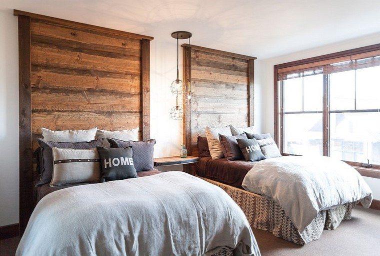 Cabeceros de cama ideas ingeniosas con madera - Dormitorios dos camas ...