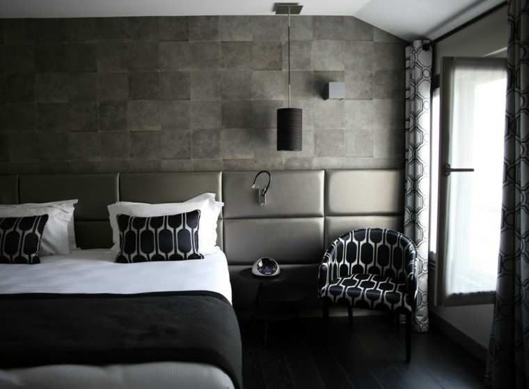 dormitorio color negro cabecero gris