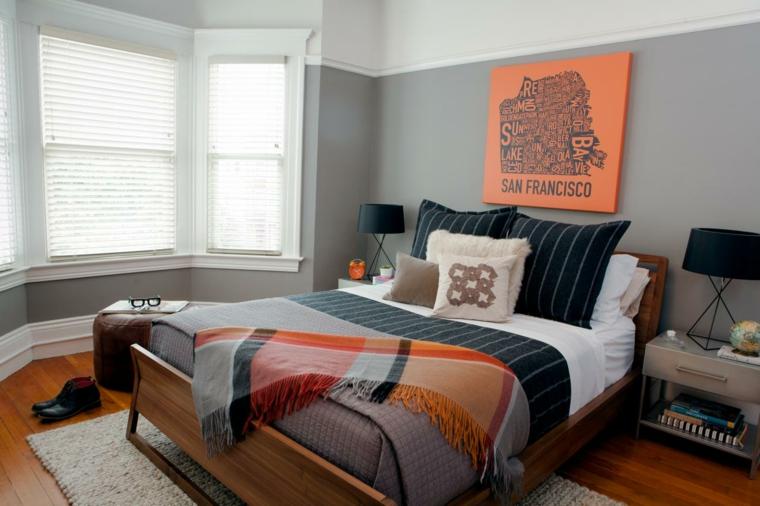 dormitorio soltero hombre color naranja