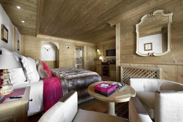 dormitorio techo diseño paredes misma madera pieles