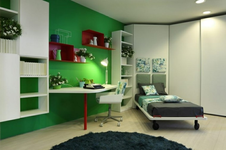 dormitorio color verde soltero cama