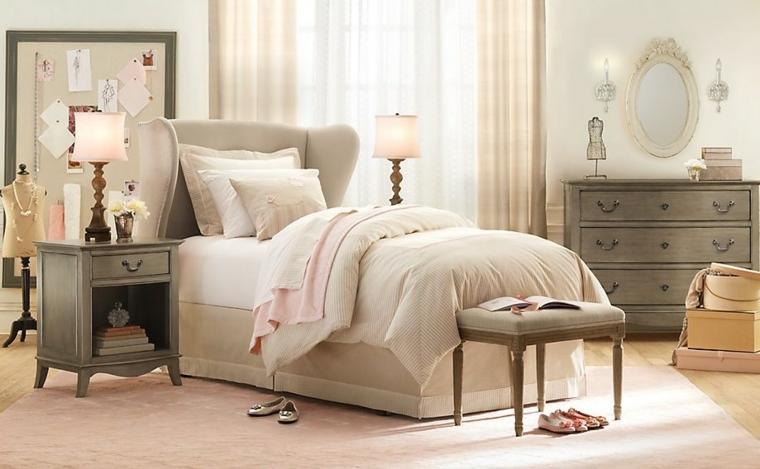 dormitorios infantiles para niñas espejo silla cajas lampara