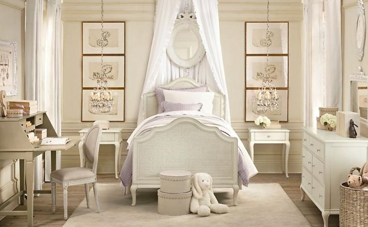 dormitorios infantiles para niñas juguetes osos cortinas cuadros