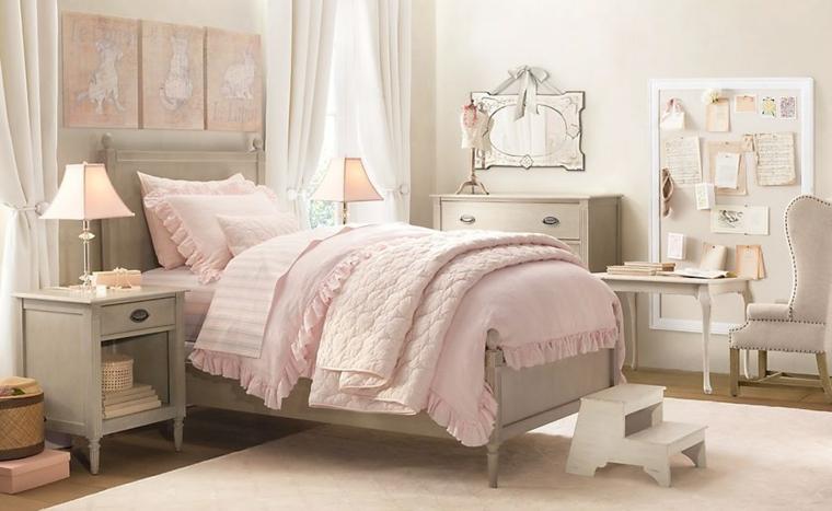 Great Dormitorios Infantiles Para Niñas Madera Mural Lampara