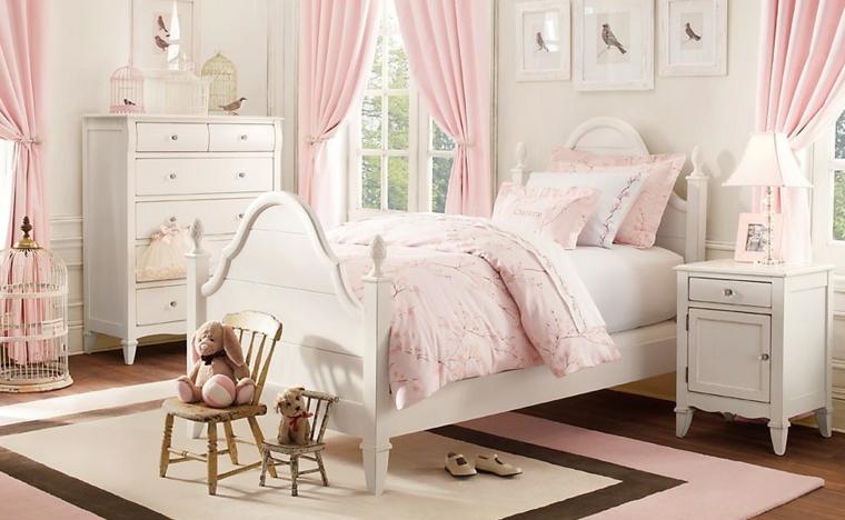 dormitorios infantiles para niñas osos jaula rosa cortinas
