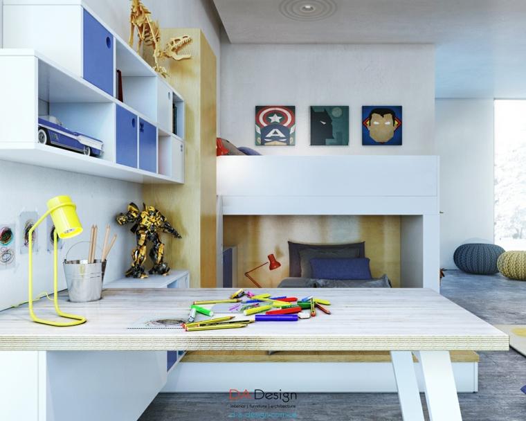 dormitorios juveniles nenes azul mesa