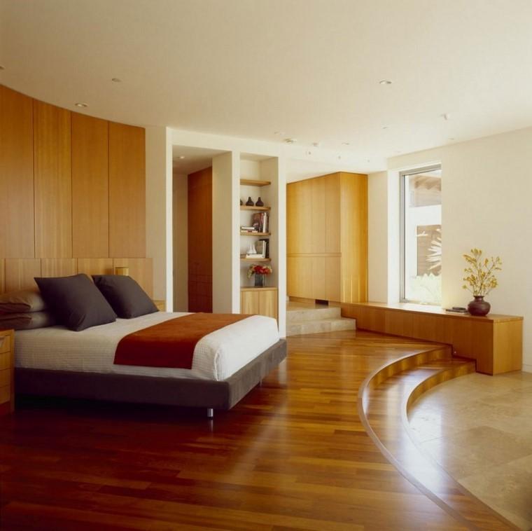 dormitorios modernos con maderas escaleras diseño jarron
