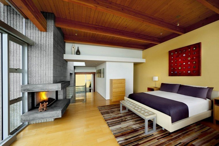 dormitorios modernos con maderas hoguera piedra habitacion