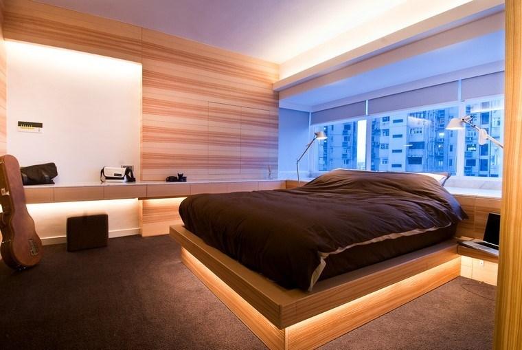 Dormitorios modernos con maderas en la decoraci n - Iluminacion habitacion ...