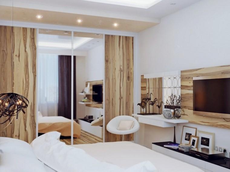 dormitorios modernos con maderas luces blanco cuadros