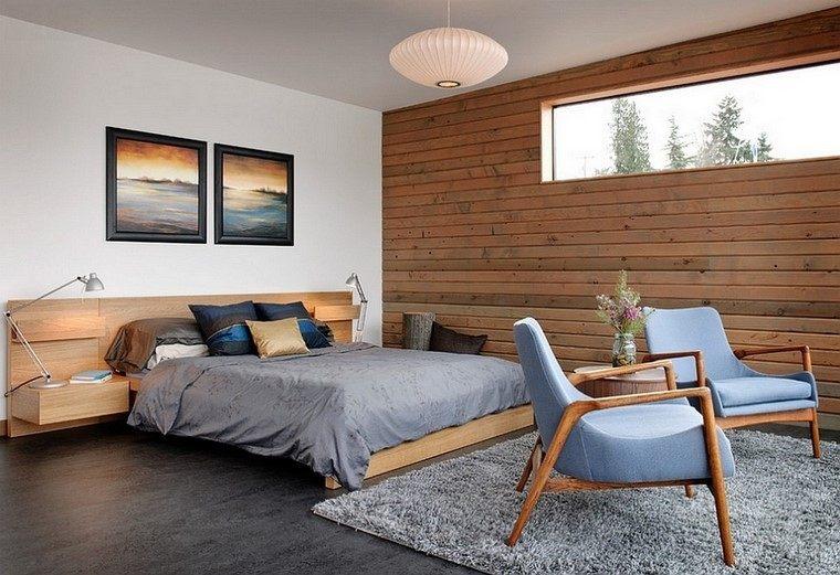 dormitorios modernos con maderas luces sillas cuadros