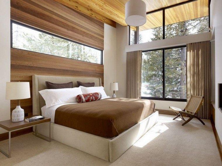 dormitorios modernos con maderas pared decorada cama