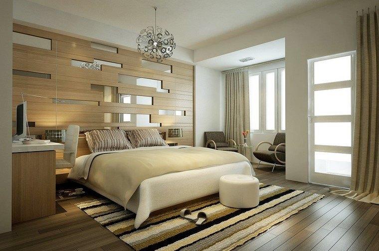 dormitorios modernos con maderas pared enchapada lampara