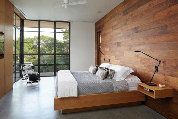 dormitorios modernos con maderas sillas pared lampara
