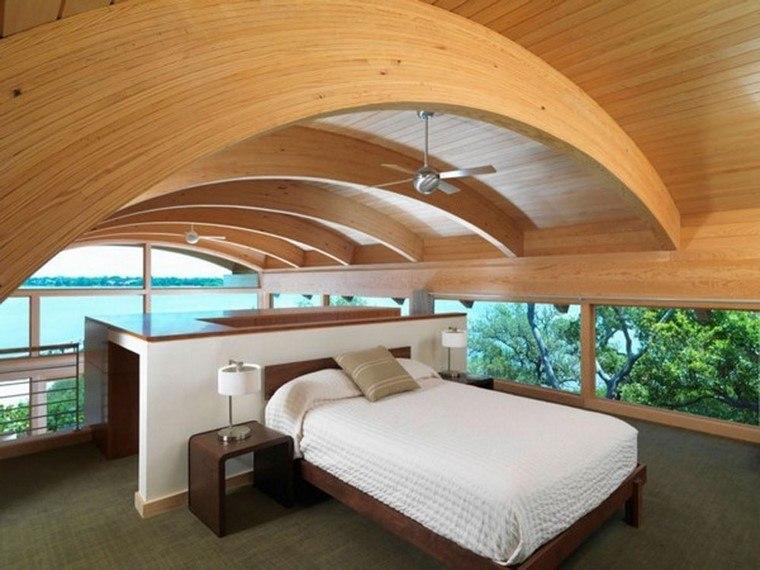 dormitorios modernos con maderas techo arqueado ventilador
