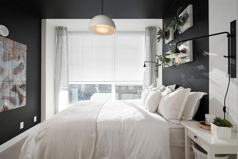 dormitorios modernos estilo masculino paredes oscuras diseño