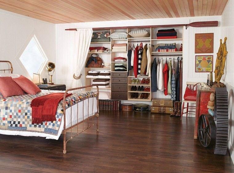 dormitorio moderno estilo rustico armario abierto diseño