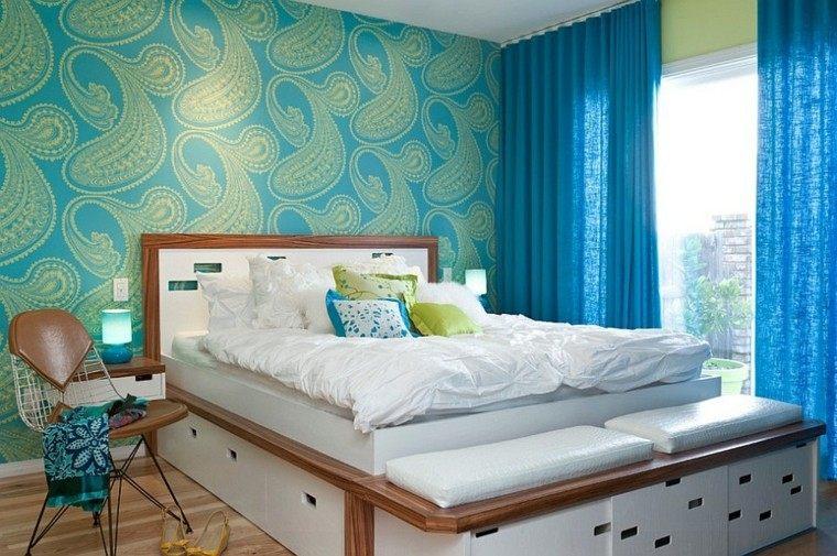dormitorios modernos paredes papel estilo mediado siglo corinas