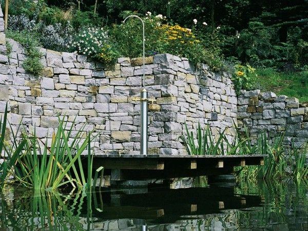 ducha jardín plataforma madera flotante