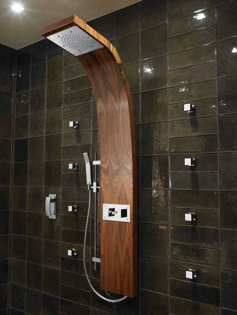 ducha madera azulejos verdes moderna ideas