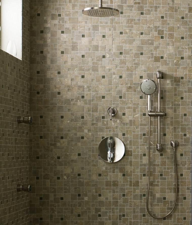 ducha techo pared chorros agua azulejos