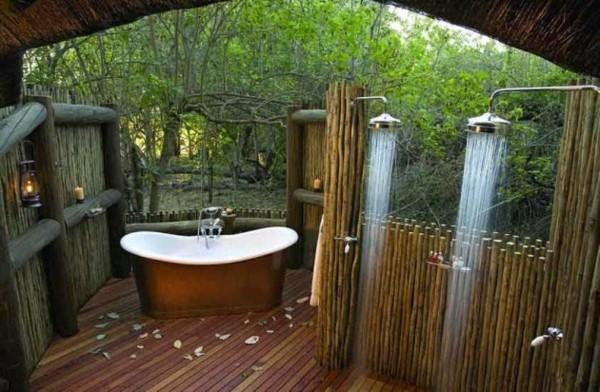 duchas jardín bañera spa madera