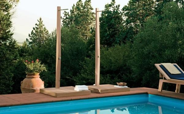 duchas jardín piscina madera barras