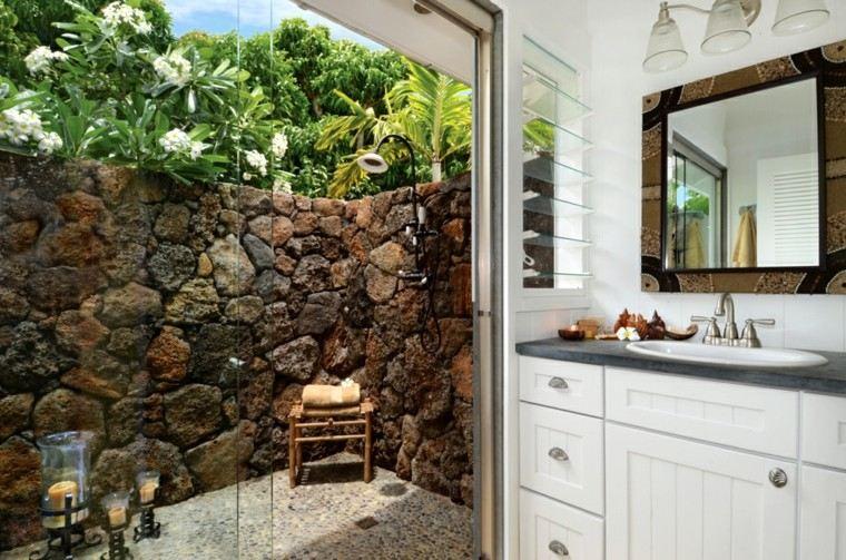 duchas para exteriores muro rocas patio