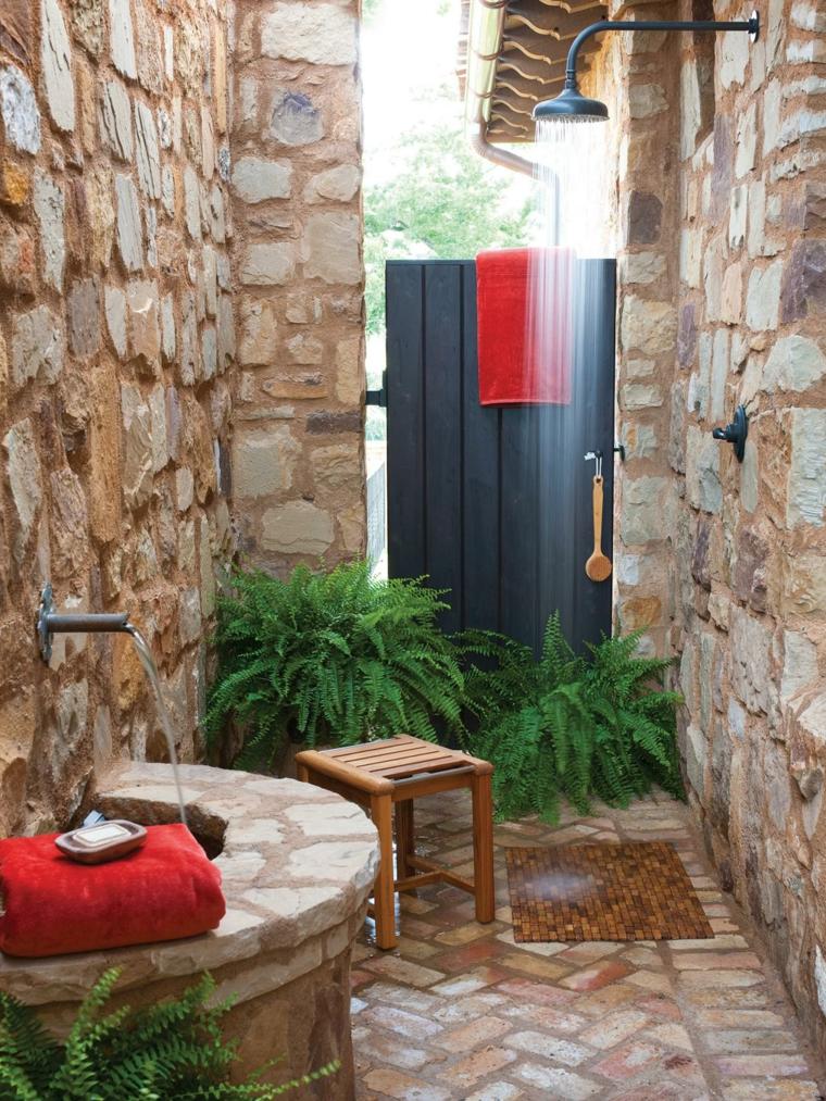 duchas para exteriores rocas tropical helechos