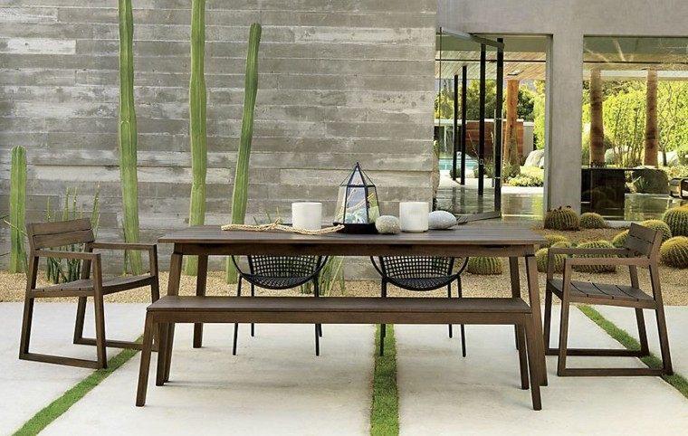 el retiro jardin minimalista bancos ideas madera